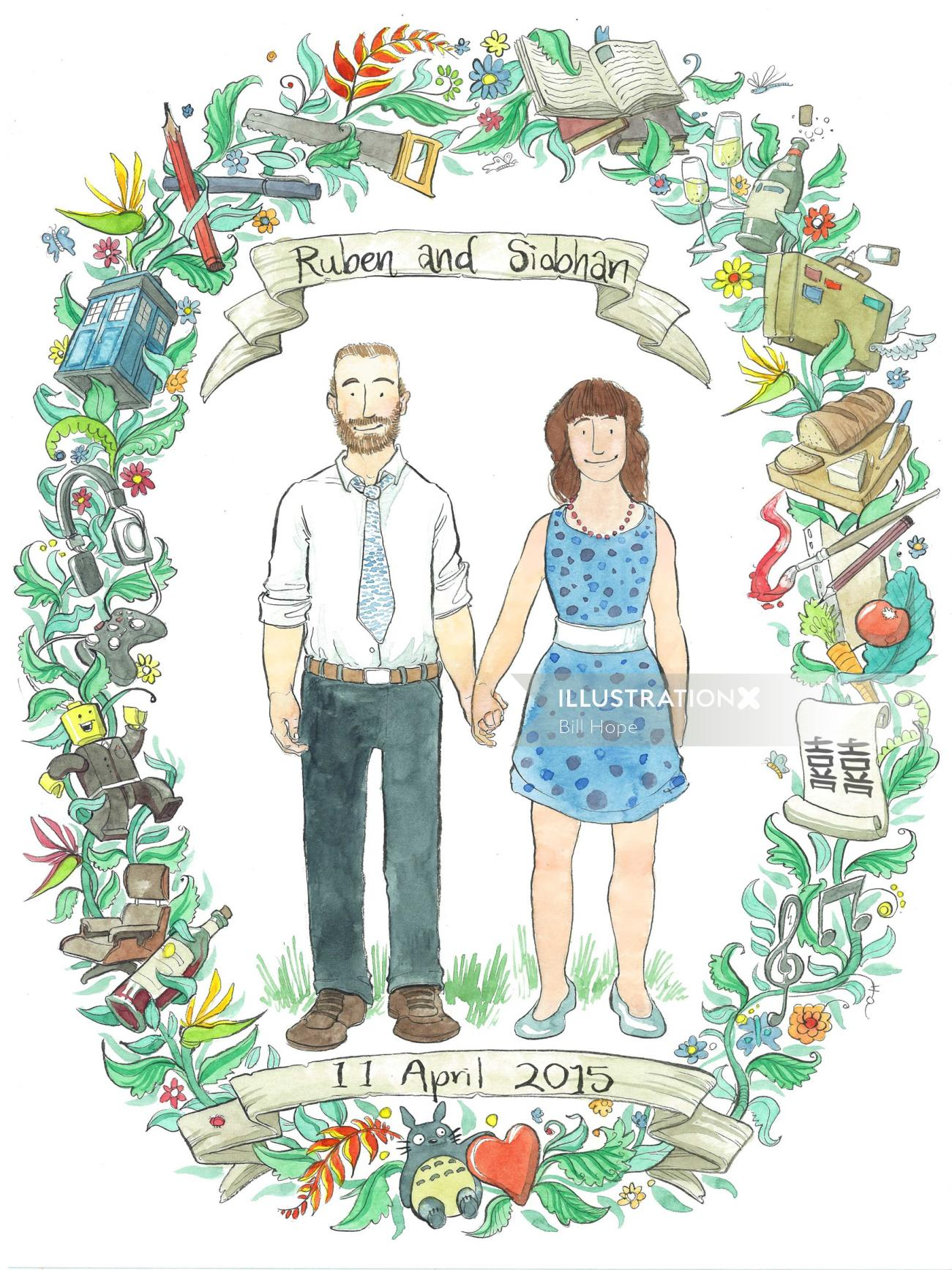 Illustration of couples