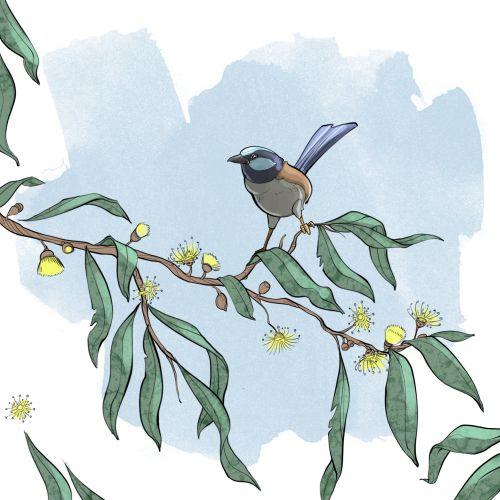 Bird on tree branch illustration