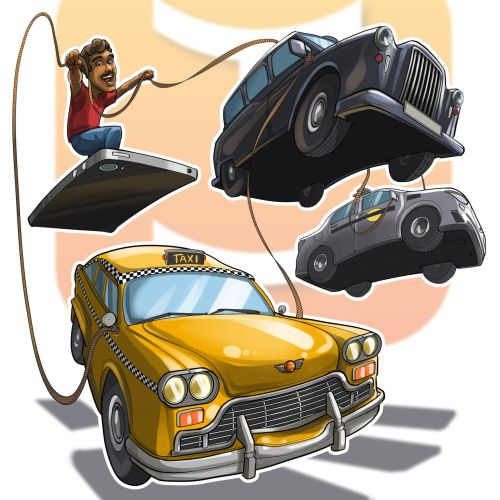 Illustration of boy with flying cars