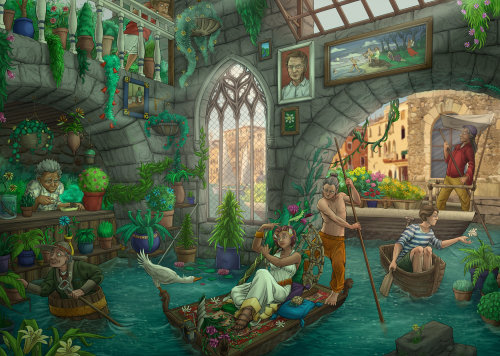 Boating fantasy illustration