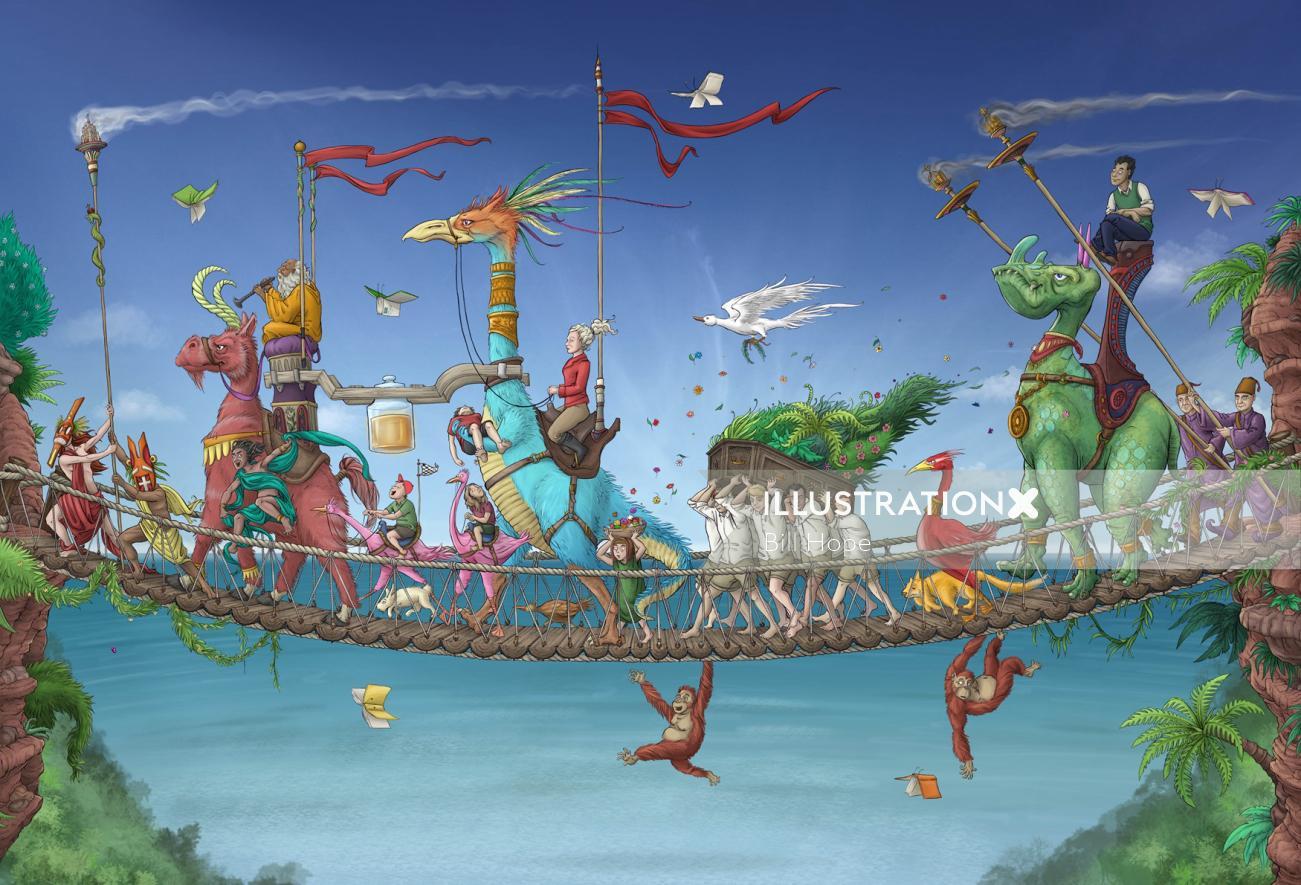 Illustration of people & animals crossing rope bridge