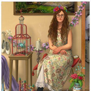 Illustration of a sitting lady