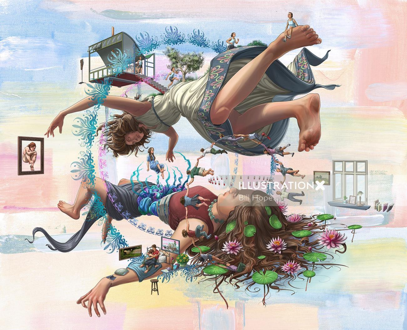 Fantasy Illustration Of Children