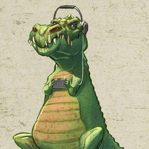 Cartoon dinosaur listening music