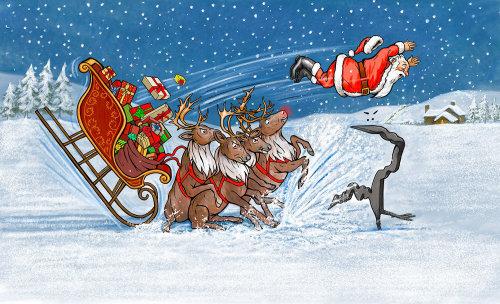 Cartoon Santa Claus accident illustration