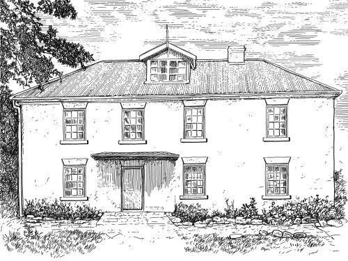 Black and white illustration of architecture house