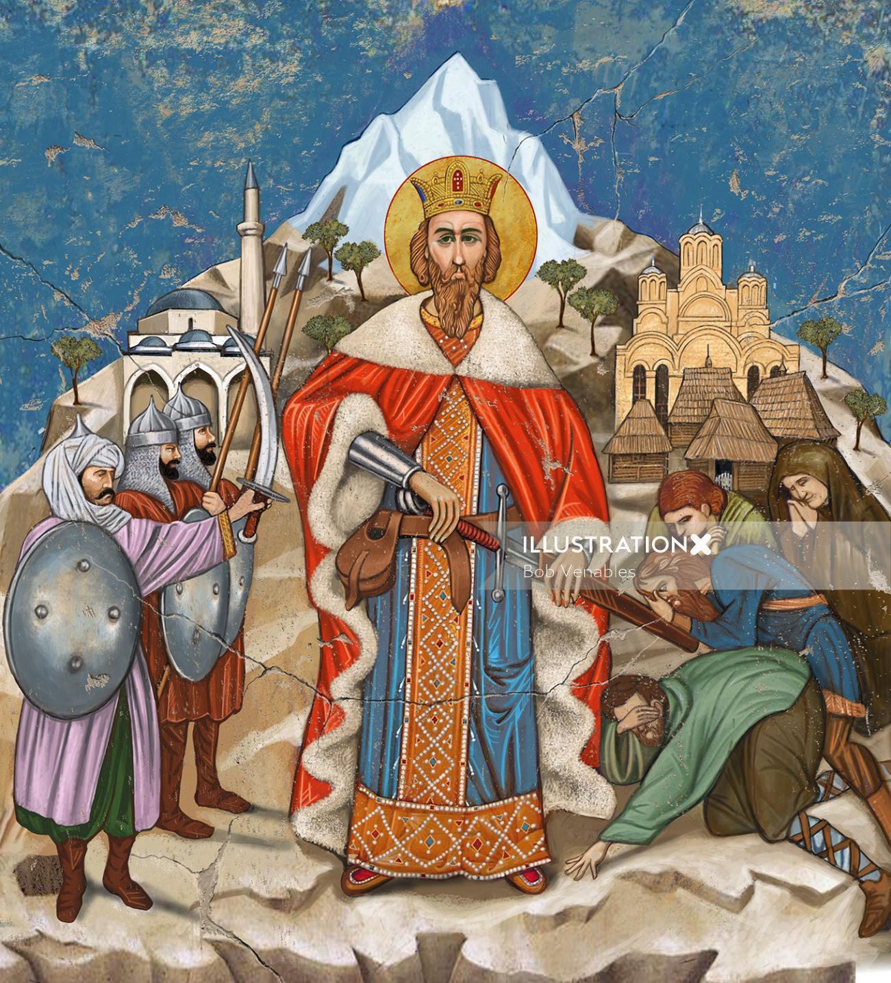 Prince Lazar a Serbian Tzar illustration