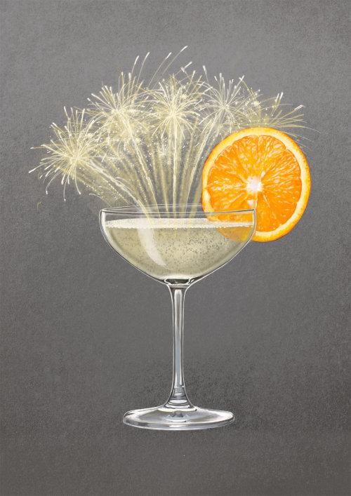 Champagne Martini glass illustration