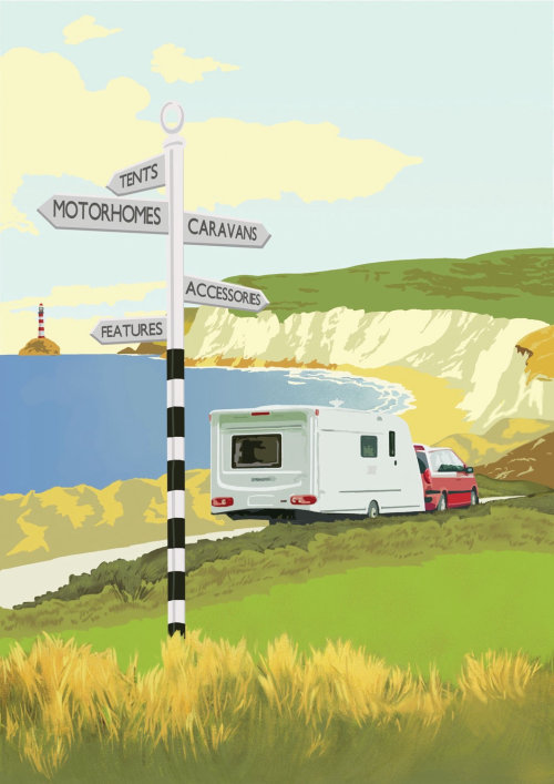 Countryside road sign boards illustration