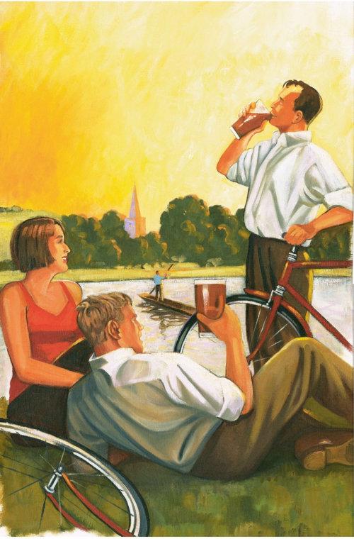 Retro people enjoying drinks at Countryside Lake