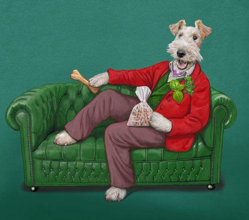 Animal Wire Fox Terrier Dog treat illustration