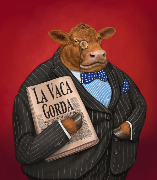 Anthropomorphic Cow illustration by Bob Venables