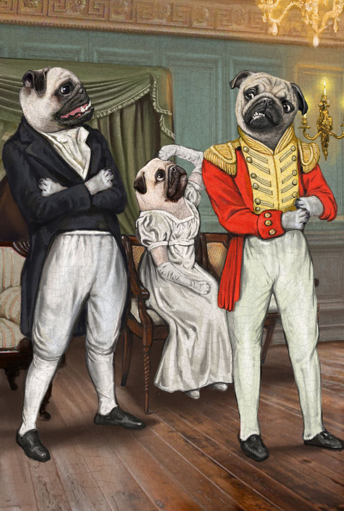 Anthropomorphic illustration of Animal Pug Dogs