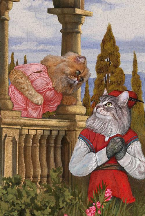 Anthropomorphic illustration of Animal Cat Couple