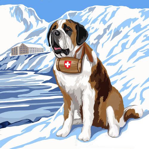 Animal St. Bernard Rescue Dog painting