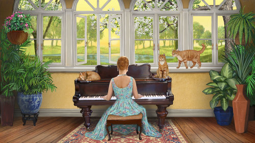 Cat Lady playing Piano digital painting