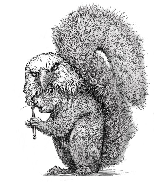 Animal Squirrel black and white art