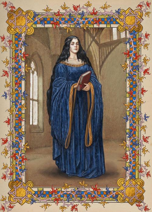 Rowena Raven 爪的社论插图,是苏格兰女巫