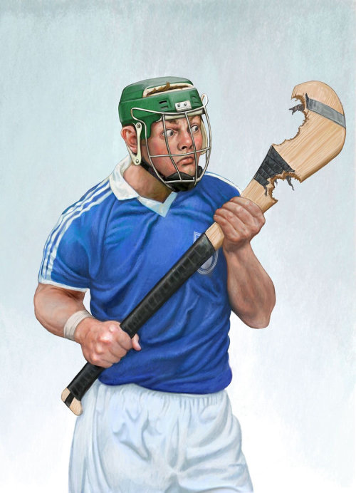 Hurling sport player poster art for The Irish Examiner newspaper
