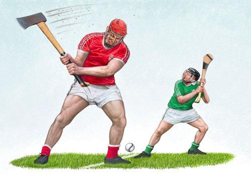 Hurling sports illustration for The Irish Examier Newspaper