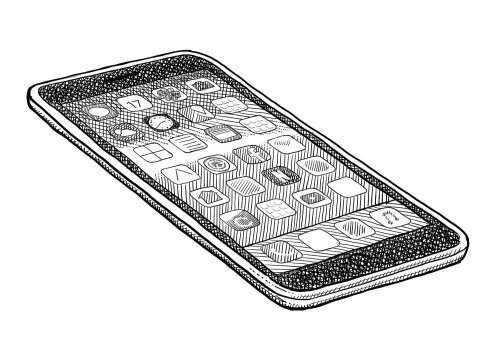 Black and white illustration of mobile screen