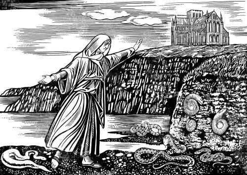 Prophet fighting against snakes black and white illustration