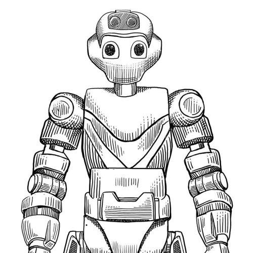 Robot black and white illustration