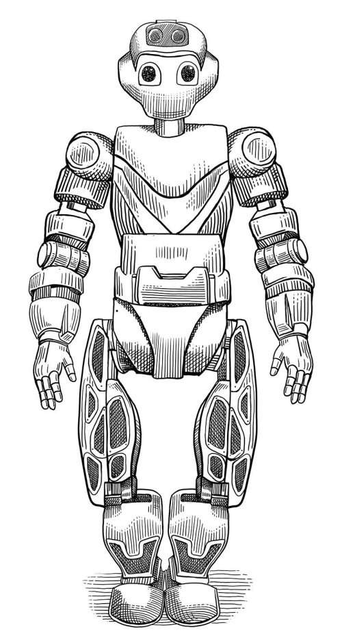 Robot black and white illustration