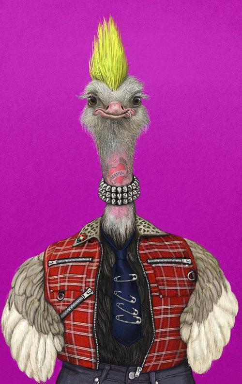 Portrait of anthropomorphic animals Ostrich