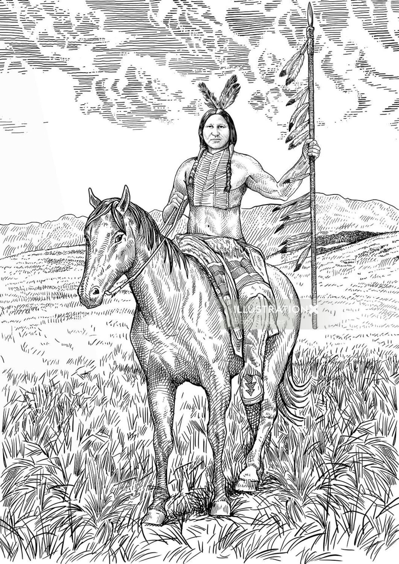 black and white illustration of forest man