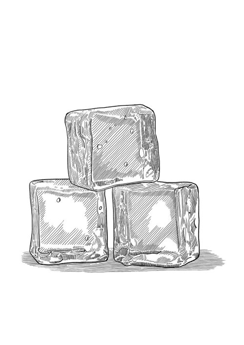 Ice cubes black and white illustration