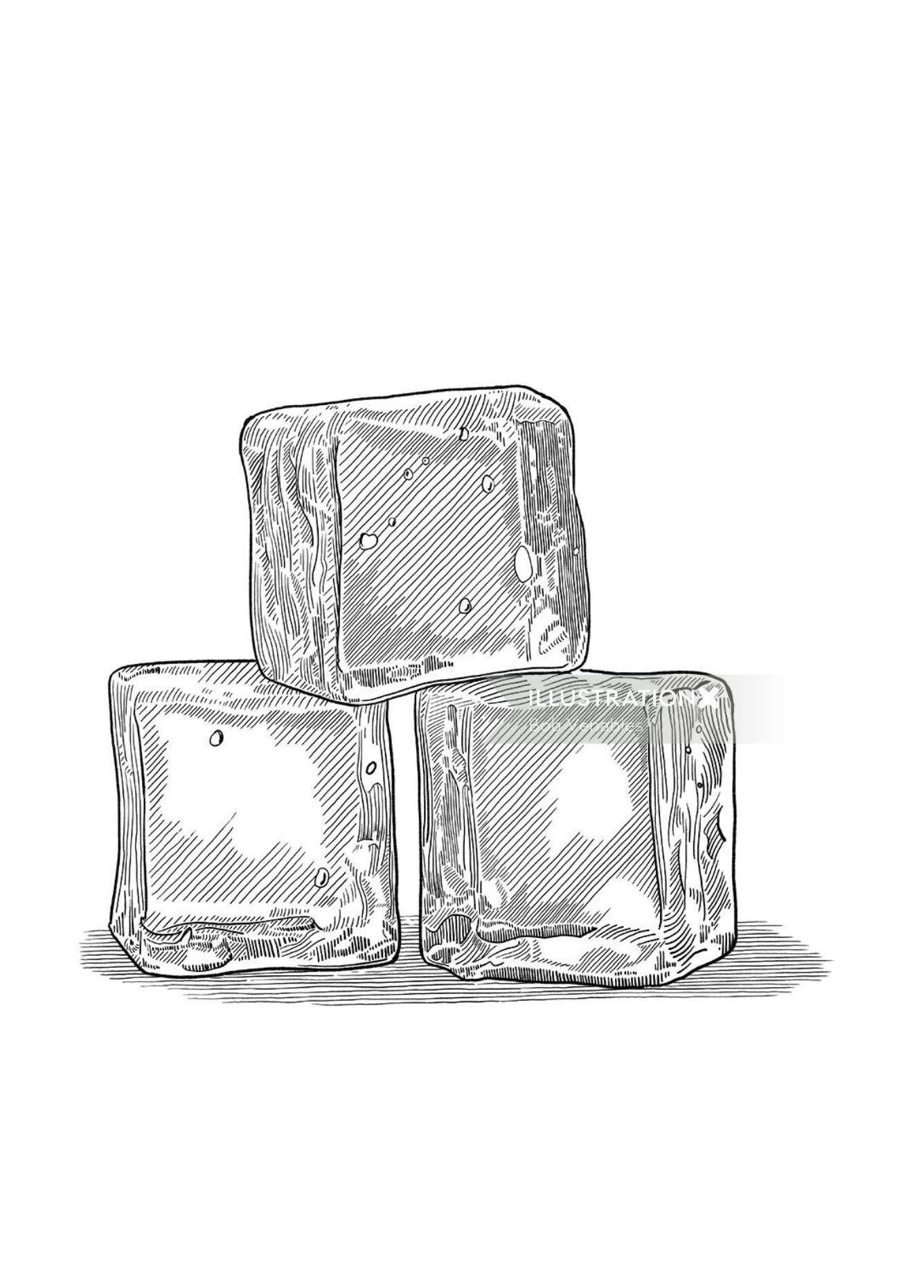 Ice cubes black and white illustration