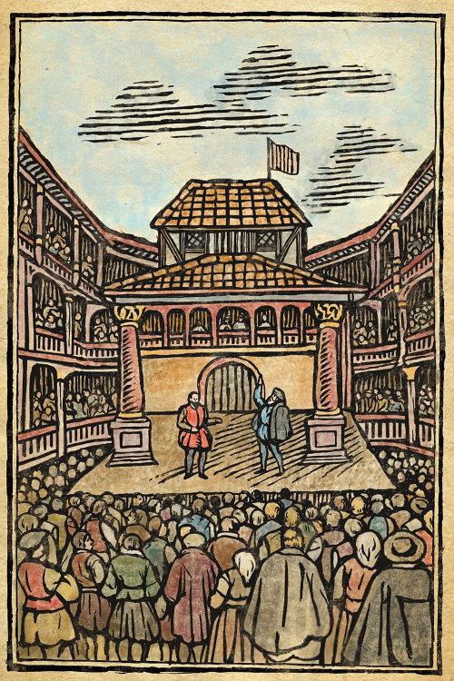 Medieval theatre wood engraving art