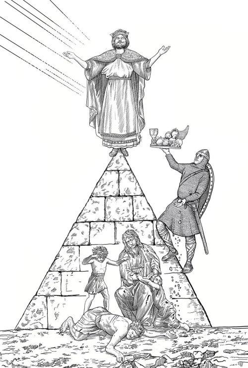 Black and white illustration of Lord Jesus Christ Praying