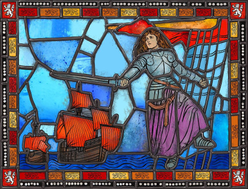 Historic story is about Jeanne de Clisson on Stained window glass