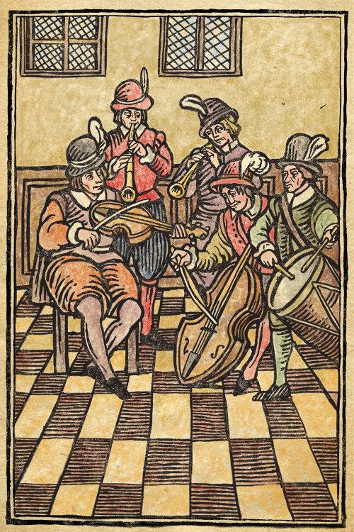 Medieval music band retro art