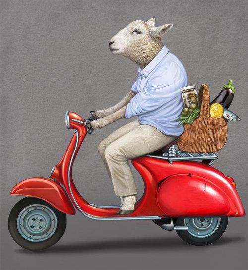 Anthropomorphic Animal Goat riding scooter