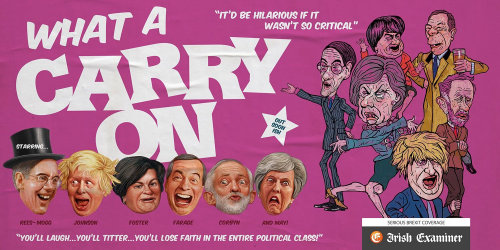 WHAT A CARRY ON political cover poster for Irish Examiner