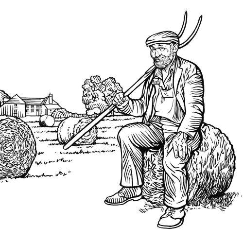 Farmer black and white illustration