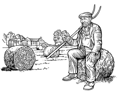 Farmer black and white illustration