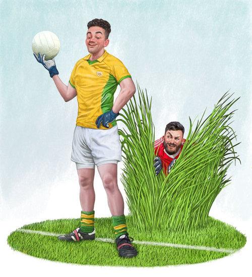 Food Ball players humorous art for The Irish Examiner
