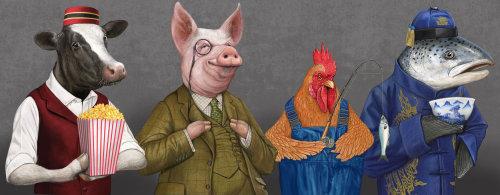 Anthropomorphic animals illustration for Heston- Waitrose
