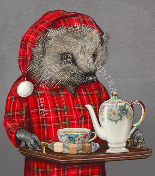 Anthropomorphic illustration of Hedgehog serving tea