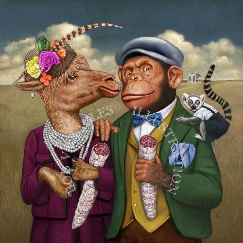 Anthropomorphic animal couple humorous art
