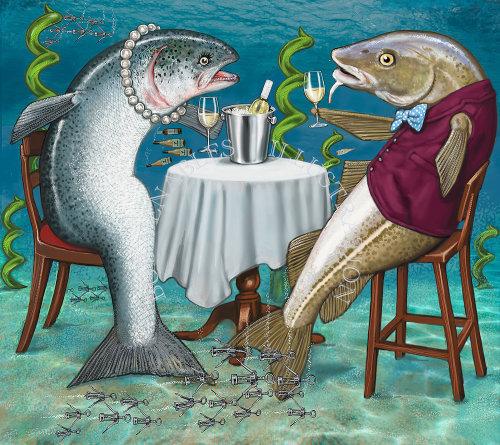 Waitrose杂志以幽默为特色的鱼