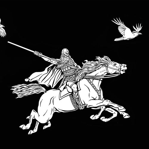 Horse warrior black and white illustration