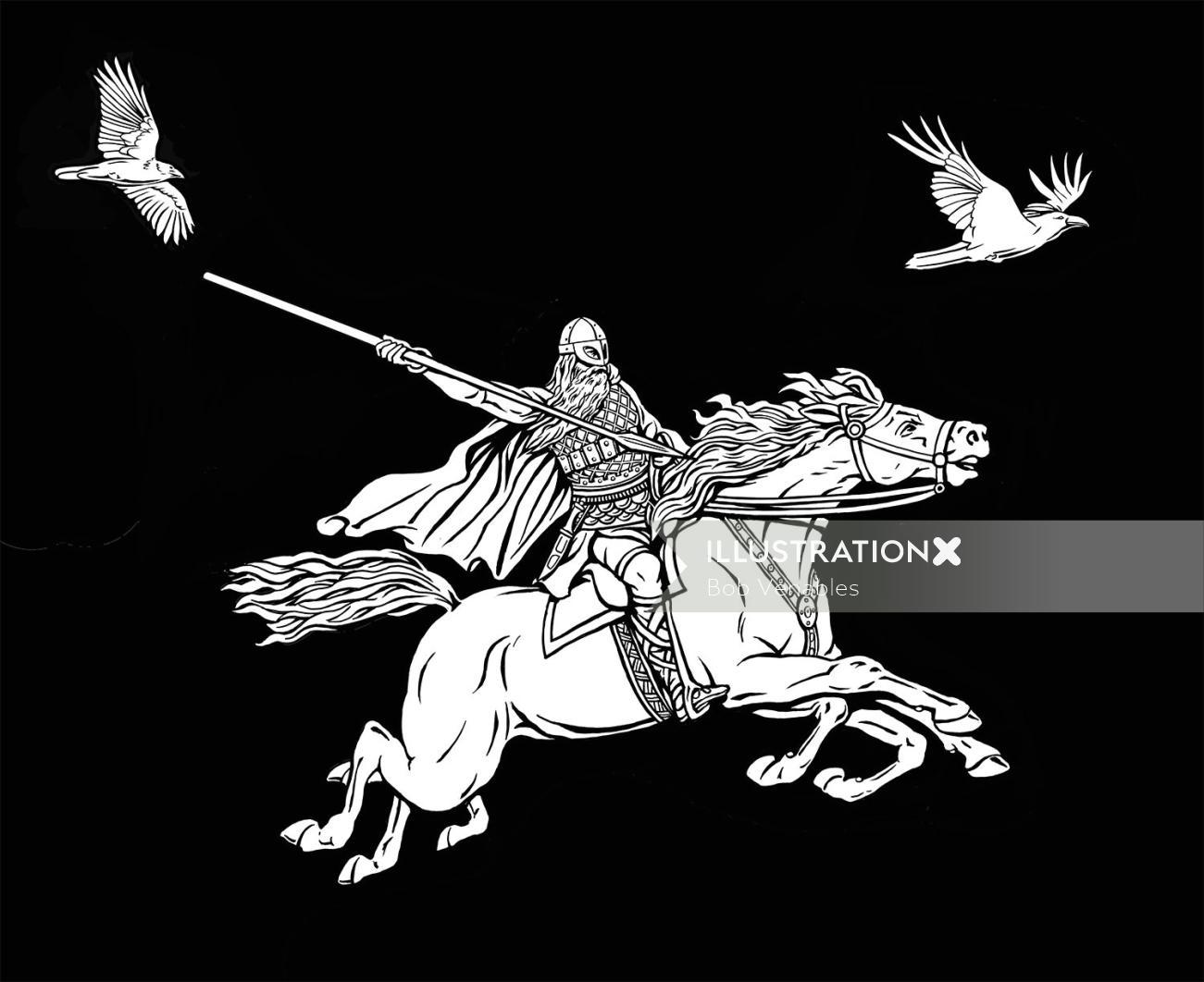 Horse warrior black and white illustration