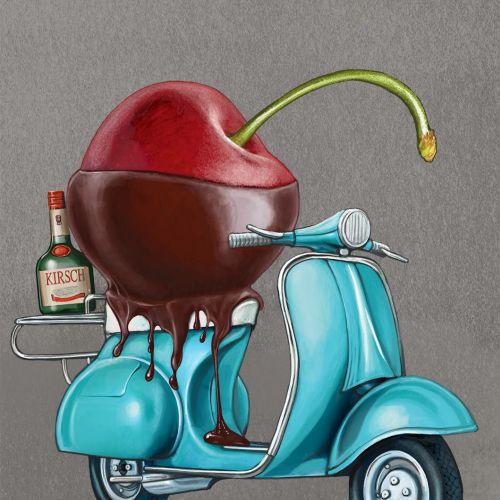 Kirsch Liqueur advertising illustration