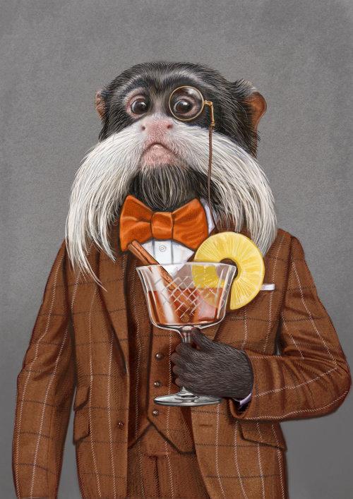 Anthropomorphic animal Dog having drink illustration