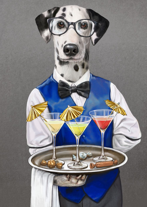 Portrait illustration of waiter dog